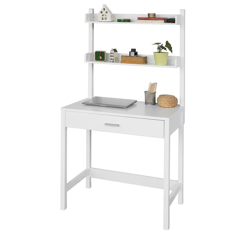 SoBuy FWT52-W Schreibtisch Computertisch Arbeitstisch mit 2 Ablagen und Schublade weiß BHT: 78x75/151x45cm