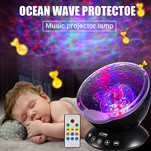 Ocean Wave Projector, Night Light Projector, LBell Sleep Sound Machine with Remote, Music Player, Timer, Room Decor for Infant Baby Kids, Nursery Living Room and Bedroom (Black) by LBell (Image #4)