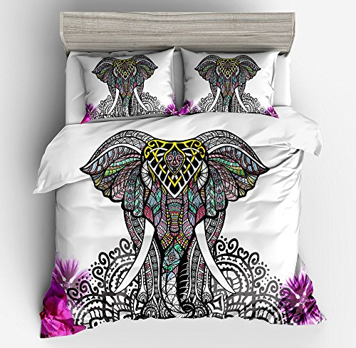 Wonderful Indian Elephant Cotton Microfiber 3pc 80''x90'' Bedding Quilt Duvet Cover Sets 2 Pillow Cases Full Size by DIY Duvetcover
