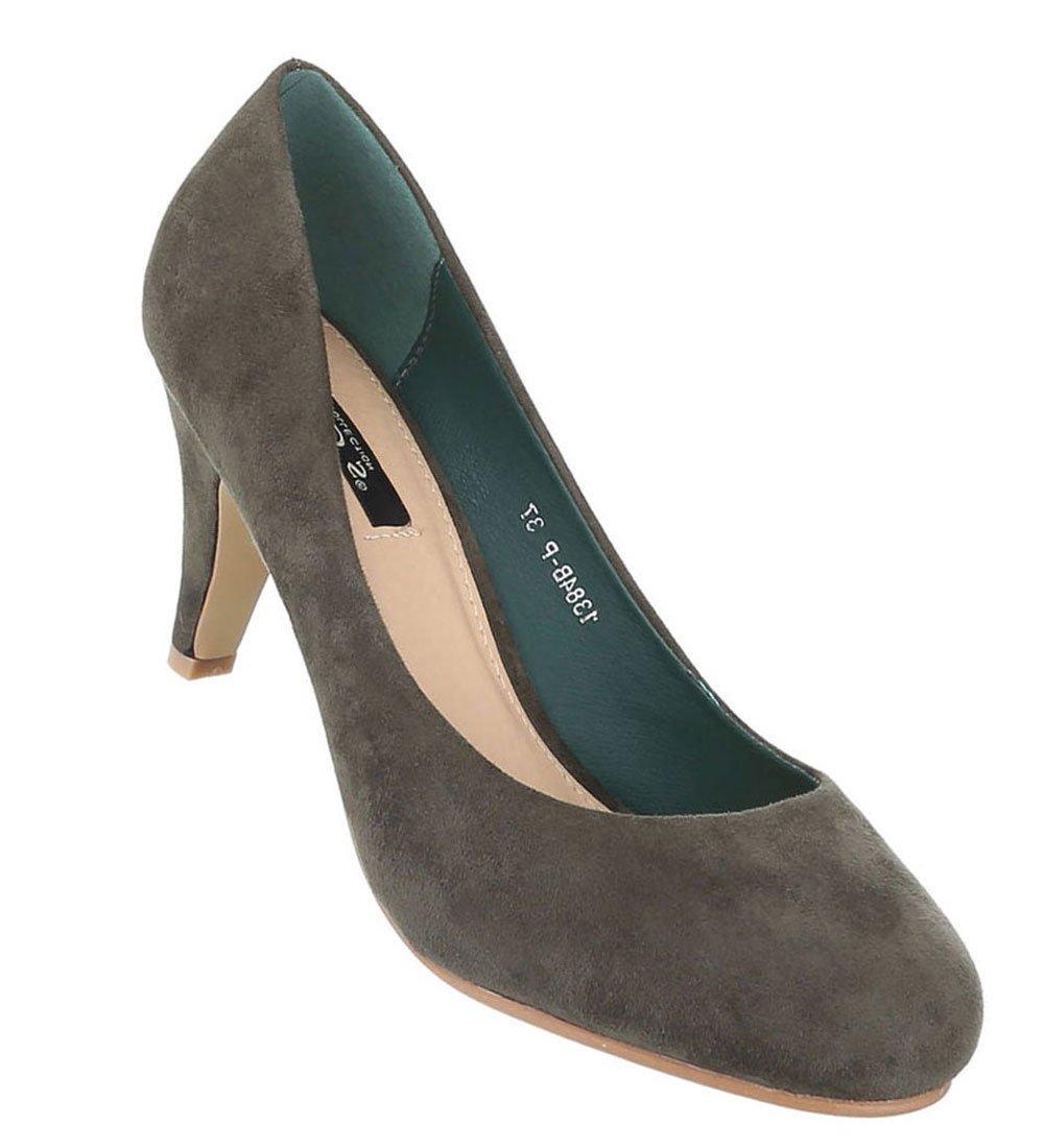 Schuhcity24 Klassische Pumps | Damen High Heels | Runde Stilettos Leder-Optik | Buuml;roschuhe Schuhe Leder-Optik | Abendschuhe Kleiner Absatz36 EU|Olive