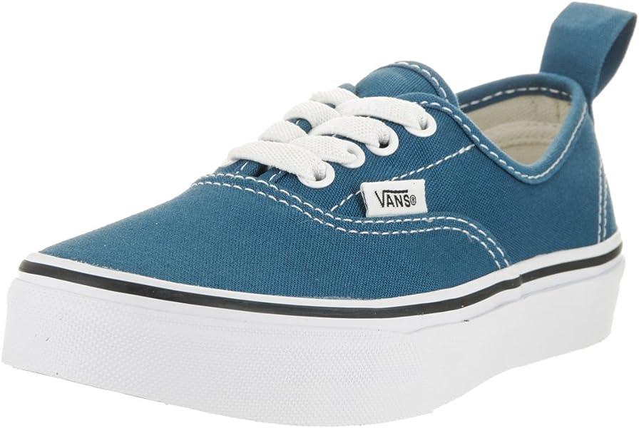 Vans Kids Authentic Elastic (Elastic Lace) Skate Shoe Navy True White 1 6d057b024