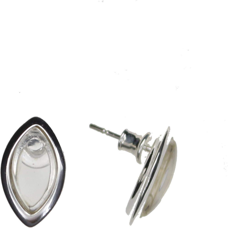 Pendientes con cristal de roca de Artisana, pendientes en forma de Navette, de plata de ley 925/000