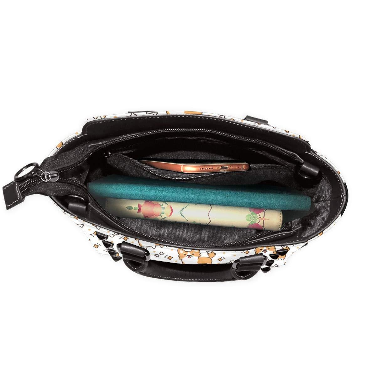LalaQ dam axelväska saxofon och musikknutar, hög kvalitet, elegant, äkta läder, nitar Söt Welsh Corgi hund