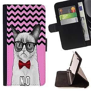 Pattern Queen - Chevron Grumpy Cat - FOR Sony Xperia Z3 Compact - Funda de cuero ranuras para tarjetas de credito de la cubierta Flio tarjeta de la carpeta del tiron