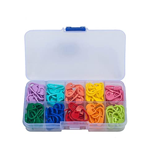120 Pieces Crochet Locking Stitch Markers Knitting with Compartment Box Stitch Needle Clip 10 Colors (box package)