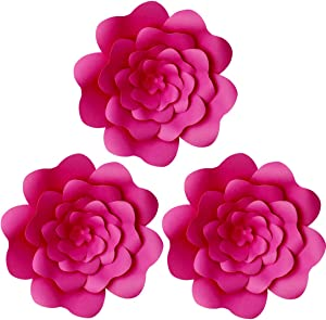 Daily Mall Paper Flower Decorations DIY Handcrafted Flowers Party Wedding Flower Giant Paper Flower Wall Backdrop Flower for Nursery Birthday Bay Shower (Rose Red, 3pcs-12'')