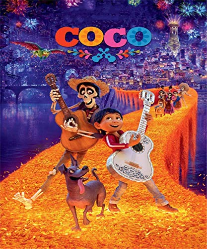Happy Birthday Backdrops for Photography 5x7 Coco Disney Movie Photography Background for Kids Halloween Party Baby Birthday Tabletop Banner Decor ()