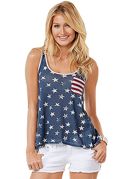 ce7e5c784d Eshinny Women Girls American Flag Tank Tops Sleeveless Bowknot Loose Fit  Tunic (Multicoloured