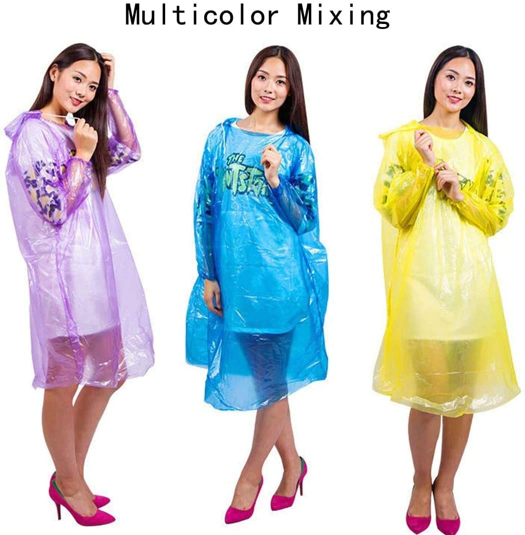 Extra Thick OUYOOLE Disposable Rain Ponchos for Adults Waterproof 100/% PE Plastic Material Mixed Colors Emergency Drawstring Hood Poncho Disposable Rain Coats