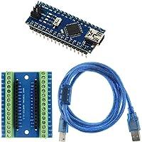 KeeYees Placa soldada ATmega328P CH340G Chip 5V 16MHz con Placa de Expansión Protector Adaptador de Terminal y Cable USB…