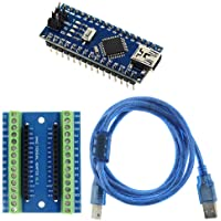 KeeYees Nano V3.0 Module Soldered, Mini Nano Board ATmega328P CH340G Chip, 5V 16MHz for Arduino, with Nano Terminal Adapter Shield Expansion Board, 1.5m USB Cable