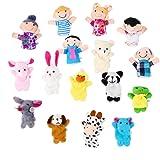 OPount 16 Pcs Soft Plush Animal Finger Puppets Set including 10 Pcs Animal + 6 Pcs People Family Members Educational Toys