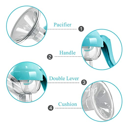 PiAEK Extractor de leche manual - Extractor de leche manual Extractor de leche manual Extractor de leche Máquina de alimentación para bebés (Azul)