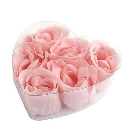 6 Piezas Rosa Diseño De Corazón Caja Fragancia Baño Jabón Pétalos De Rosa