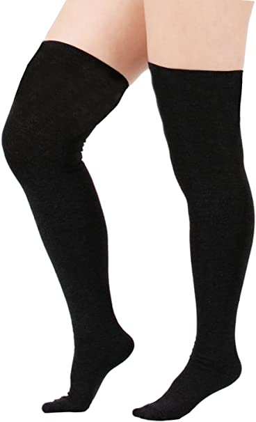 biggest discount release date: thoughts on Zando Women Plus Size Thigh High Stockings Thin Over the Knee Tube Socks  Long Sport Tights Striped Leg Warmers Sock