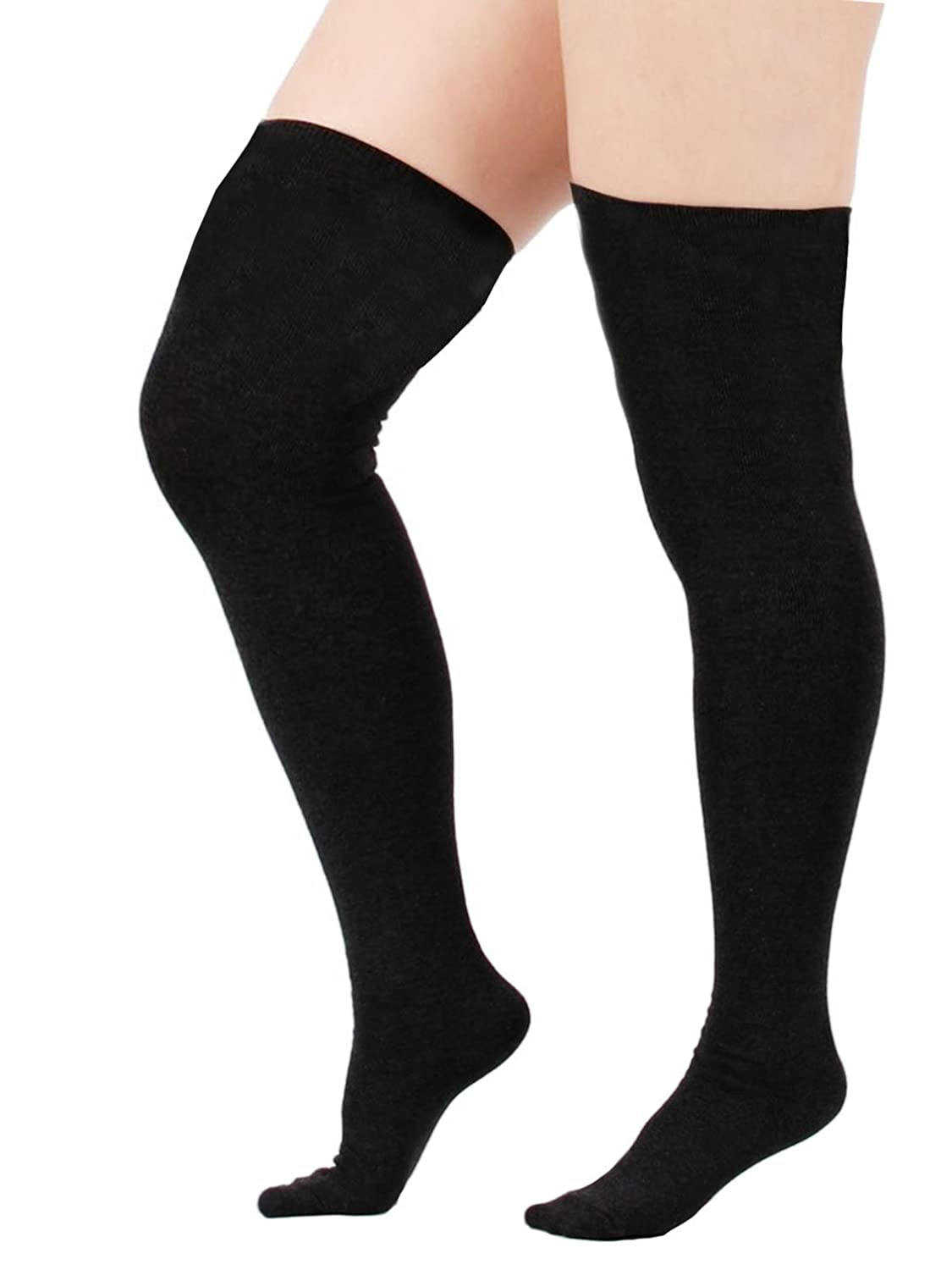 Women Kawaii Stretchy Thigh High Stockings Long Tight Plus Size Over Knee Triple Stripes Tube Socks 1-3 Pairs 2 Pairs Goth Black at Amazon Womens Clothing ...