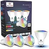 Bombilla GU10 inteligente, compatible con Alexa, Google Home y SmartThings, bombillas LED Wi-Fi, 5 W = 50 W, multicolor, regu