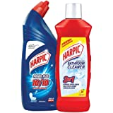 Harpic Bathroom Cleaner (Lemon) - 1 L and Harpic Powerplus Toilet Cleaner Original, 1 L