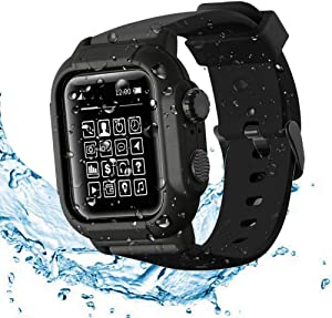 Compatible Apple Watch Series 6 / SE / 5 / 4 Waterproof Case , Tomcrazy IP68 Full Sealed Shockproof Cover with Soft Sport Watchstrap Case for iWatch 44mm (Black)
