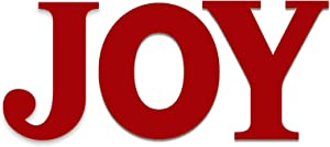 ATFUNSHOP Christmas Decorations Joy Sign Decals 11.5 Inch Acrylic Joy Letter Hanging Ornaments Red Wall Decor Art for Home Front Door Christmas Holiday, New Year, Thanksgiving, Birthday Party Decor