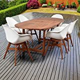 Amazonia Deluxe Hawaii White Wood/Resin 7-Piece Patio Dining Set