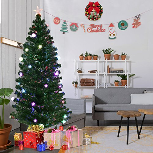 Adding Branches To Christmas Tree - Goplus 6.5FT Fiber Optic Christmas Tree Pre-Lit Artificial Fireworks Spruce Tree w/ Multicolor LED Lights, Top Star & Blossom Bell Decorations