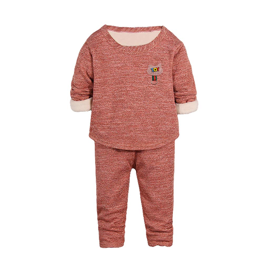 Unisex Baby Autumn Winter 2pcs Outfits Set Long Johns for Kids Thermal Underwear Fleece Lined Base Layer WX122