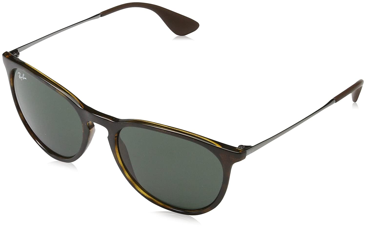 Ray Ban, Erika - Gafas de sol unisex, rama color marron y lente color verde oscuro, talla 54 mm