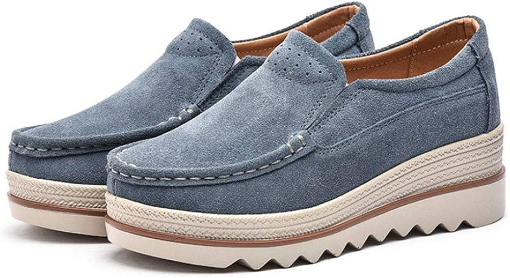 Bout Rond Plateforme Compens/é D/écontract/ée Classique Confort a Enfiler Su/ède Mocassins Baskets Mode Daytwork Chaussures Femme Loafers