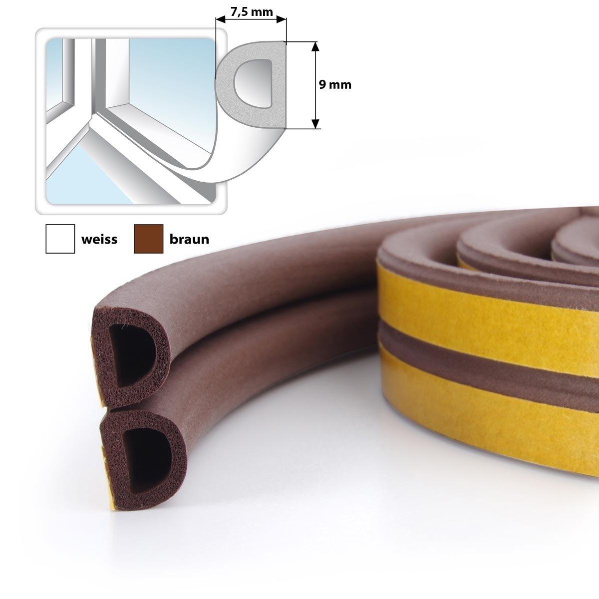 STEIGNER 5 m Self-Adhesive Window And Door Seal Profile D Brown Rubber Seal EPDM Jumbo Shop
