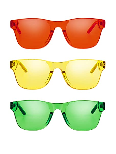 f8b0b87bafce Amazon.com: Gejoy One Piece Rimless Tinted Sunglasses Eyewear Transparent  Candy Color Glasses (Color B, 3 Pairs): Clothing