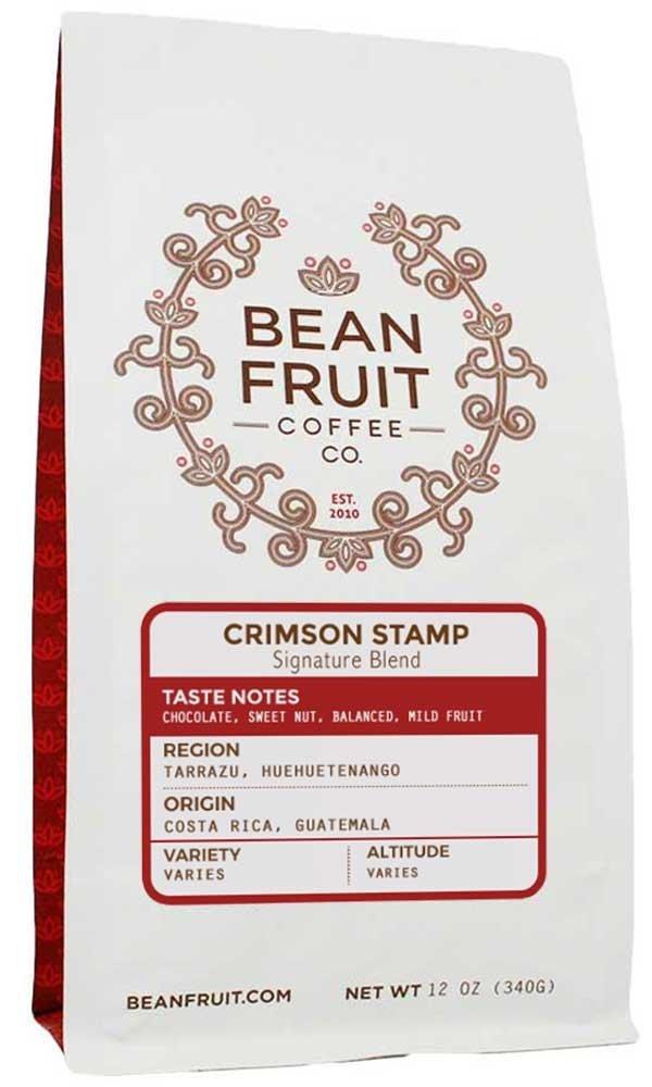 BeanFruit Coffee ''Crimson Stamp Signature Blend'' Medium Roasted Whole Bean Coffee - 12 Ounce Bag