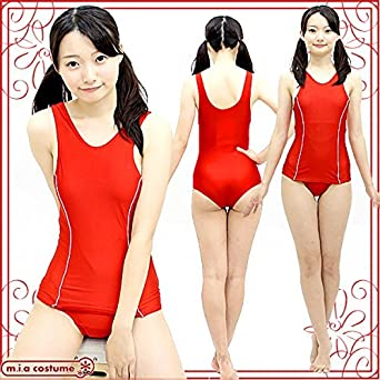 7a8d06ad01a Amazon | ライン入りスクール水着(旧スク) 色:赤 サイズ:BIG ...
