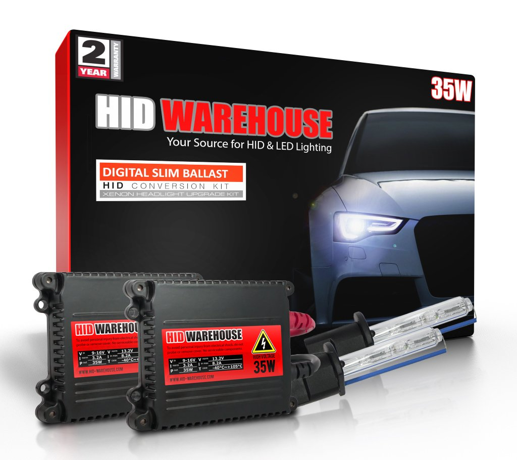 10K Dark Blue H13 // 9008 10000K 2 Year Warranty HID-Warehouse 35W DC Xenon HID Lights with Premium Slim Ballast