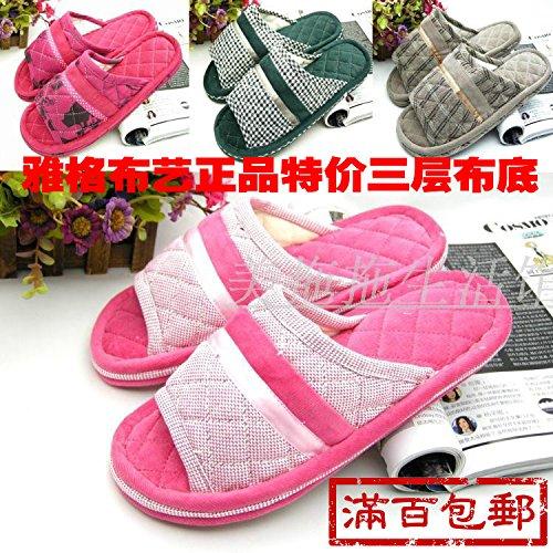 Couples Fankou Chaussures De Maison Tapis De Sol Coton Pantoufles, 37-38, Gris Foncé