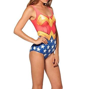 Nuevo maillot bañadores Mujer Maravilla tipo ropa interior teddy bailarina 8 10 12 tamaño
