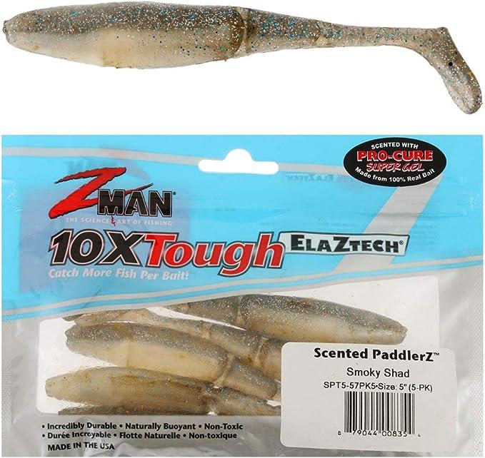 "Zman 4/"" Scented PaddlerZ Smokey Shad Paddle Tail Sof Plastic Fishing Lure"