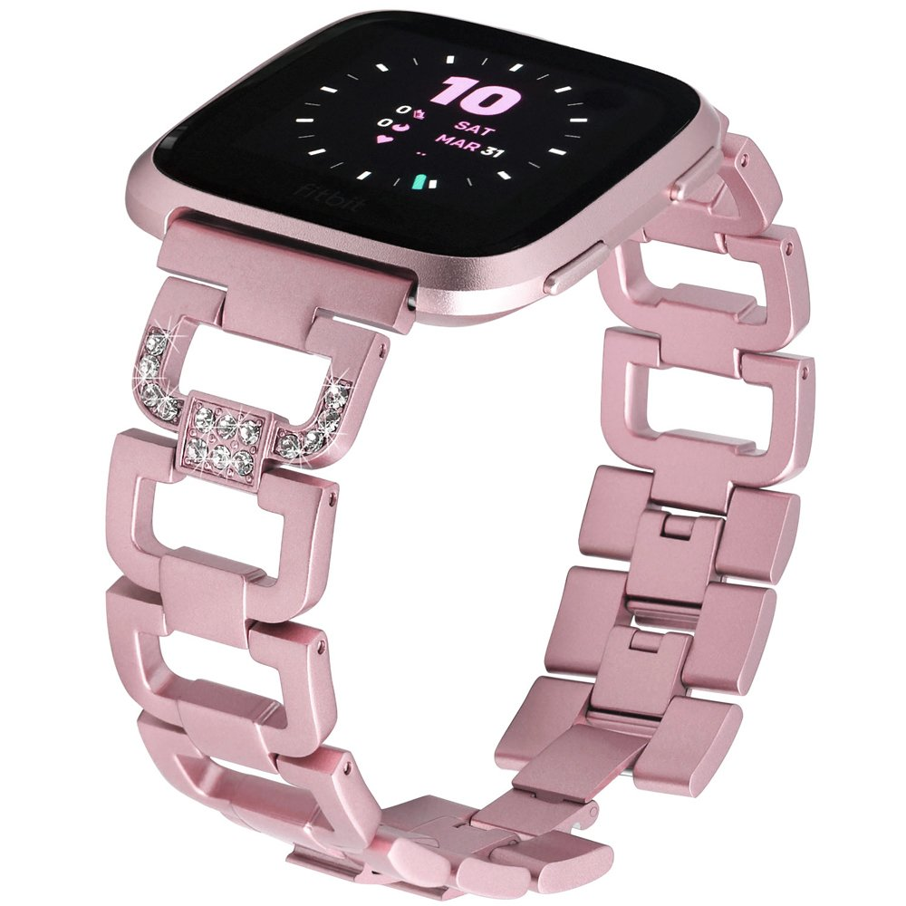 hooroor Bling Bands for Fitbit Versa Fitness Smartwatch Stainless Steel Metal Replacement Bracelet Wristband Sport Strap for Women Girls Men Boys, 4 Colors Available (#1-Rose Pink, F)