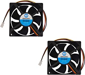 WINSINN 80mm Fan 12V Brushless 8025 80x25mm for Cooling PC Computer Case CPU Set-top Box Router Receiver DVR Playstation Xbox - 2Pin (Pack of 2Pcs)