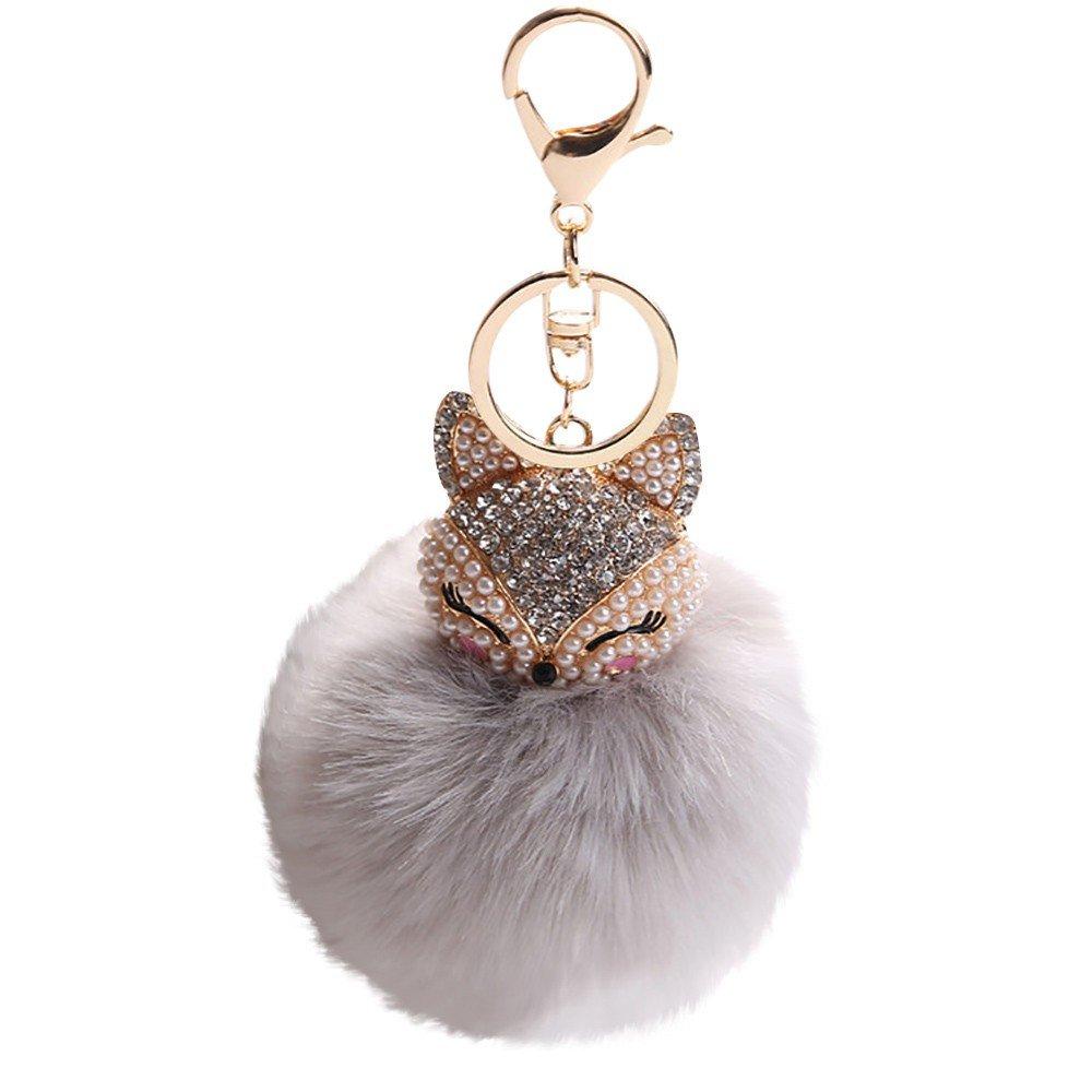 Girls Artificial Fox Fur Pom Pom Ball Key Chains with Fox Head, Inlay Pearl Rhinestone Keychain for Girls Schoolbag Hand Shoulder Bag Pendant,Women Purse Phone Charm Pendant,1Pcs 8CM (Grey)