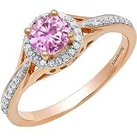 10K Rose Gold 5 MM Round Pink Sapphire & White Diamond Ladies Bridal Engagement Ring (Size 7)