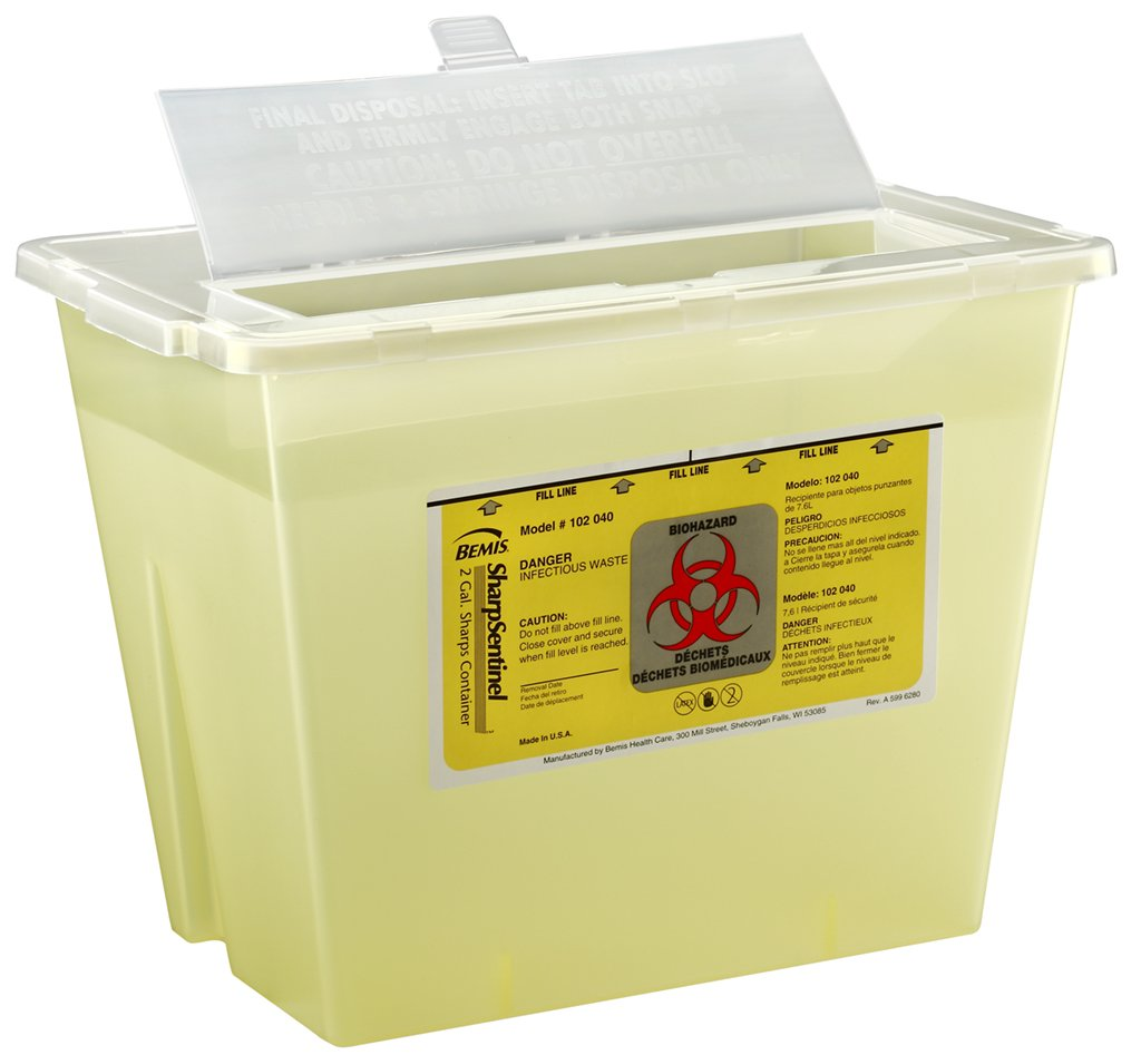 Bemis Healthcare 102040-30 2 gal Sharps Container, Translucent Yellow (Pack of 30)