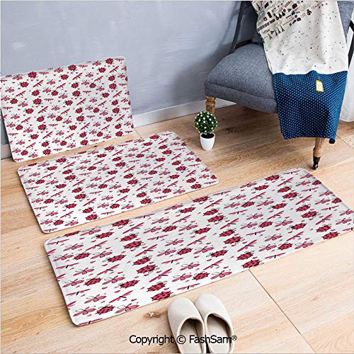 FashSam 3 Piece Non Slip Flannel Door Mat Domed Back Round Ladybugs with Hearts Flowers Dragonflies Romantic Wings Pattern Indoor Carpet for Bath Kitchen(W15.7xL23.6 by W19.6xL31.5 by W15.7xL39.4)