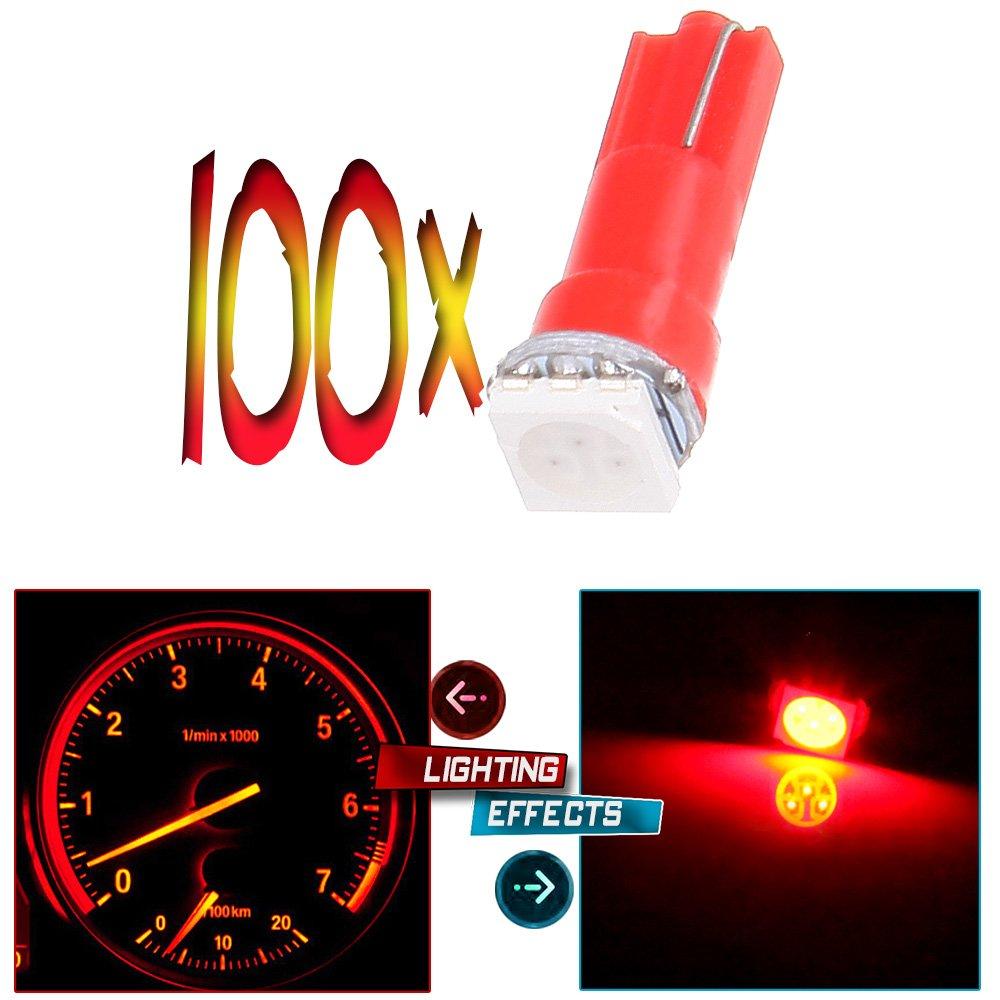 pink cciyu T5 70 74 73 1-5050SMD Instrument Gauge Dash Indicator LED Light Bulbs,100Pack