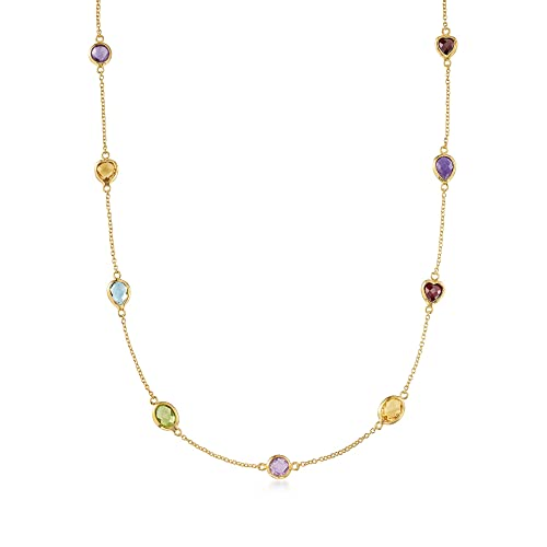 Ross-Simons 8.40-14.90 ct. t.w. Multi-Stone Station Necklace in 18kt Gold Over Sterling