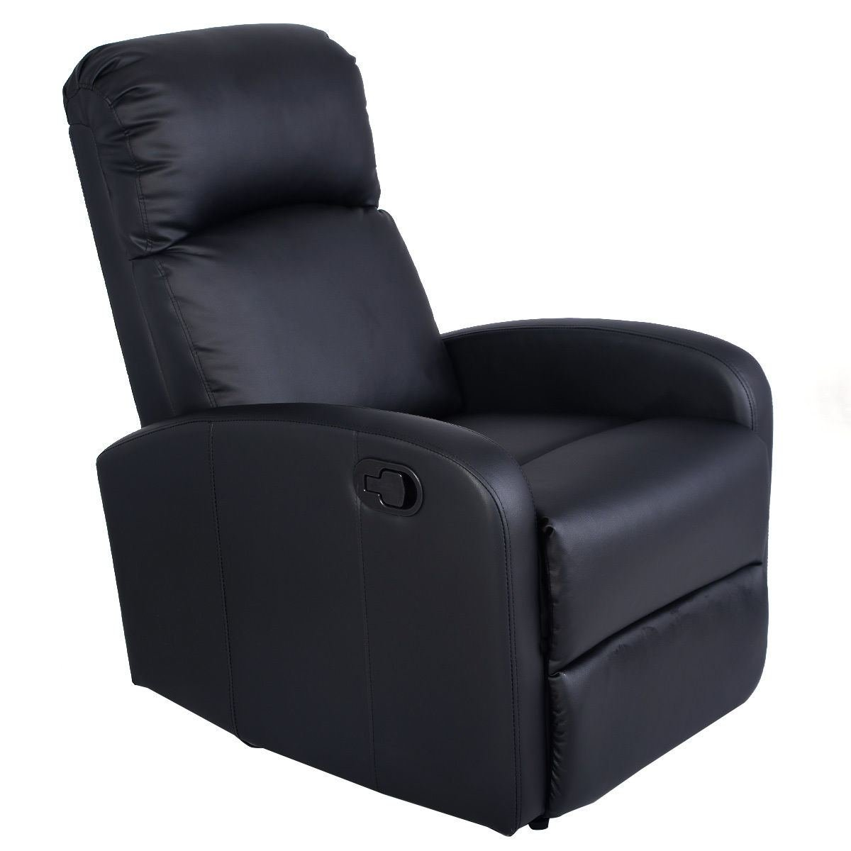MasterPanel - Manual Recliner Chair Black Lounger Leather Sofa Seat Home Theater #TP3241