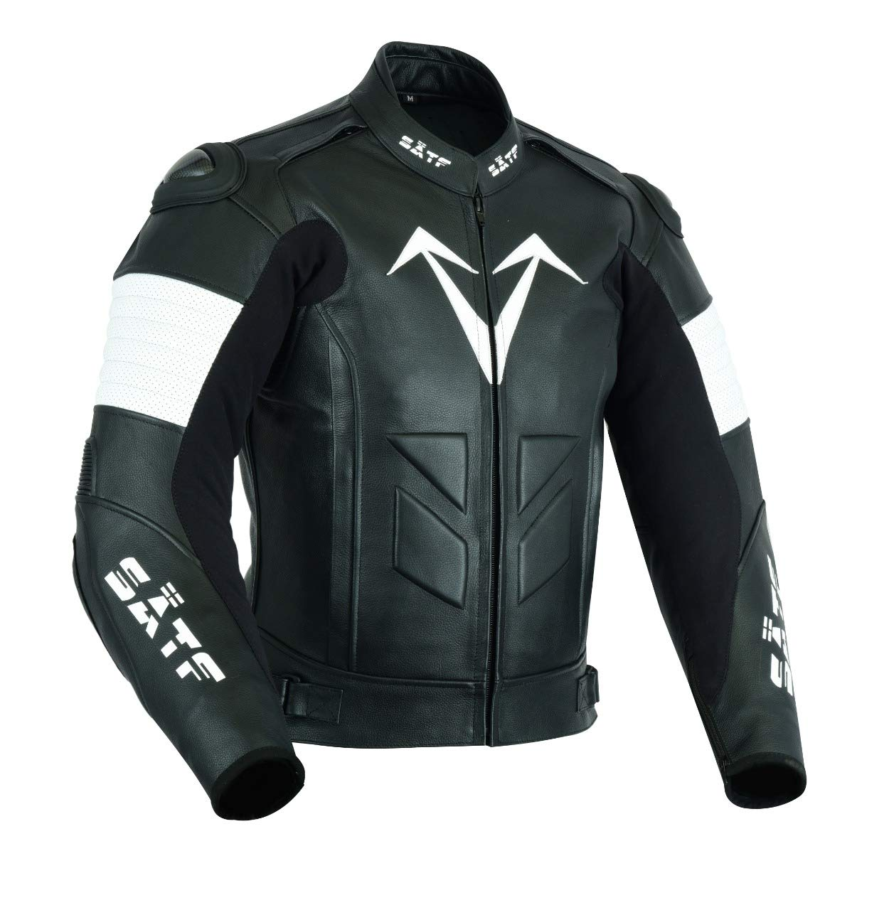 CE Protektoren L, Schwarz//Wei/ß S/ÄTF Leder Motorradjacke Lederjacke Rindleder Biker mit Level 2