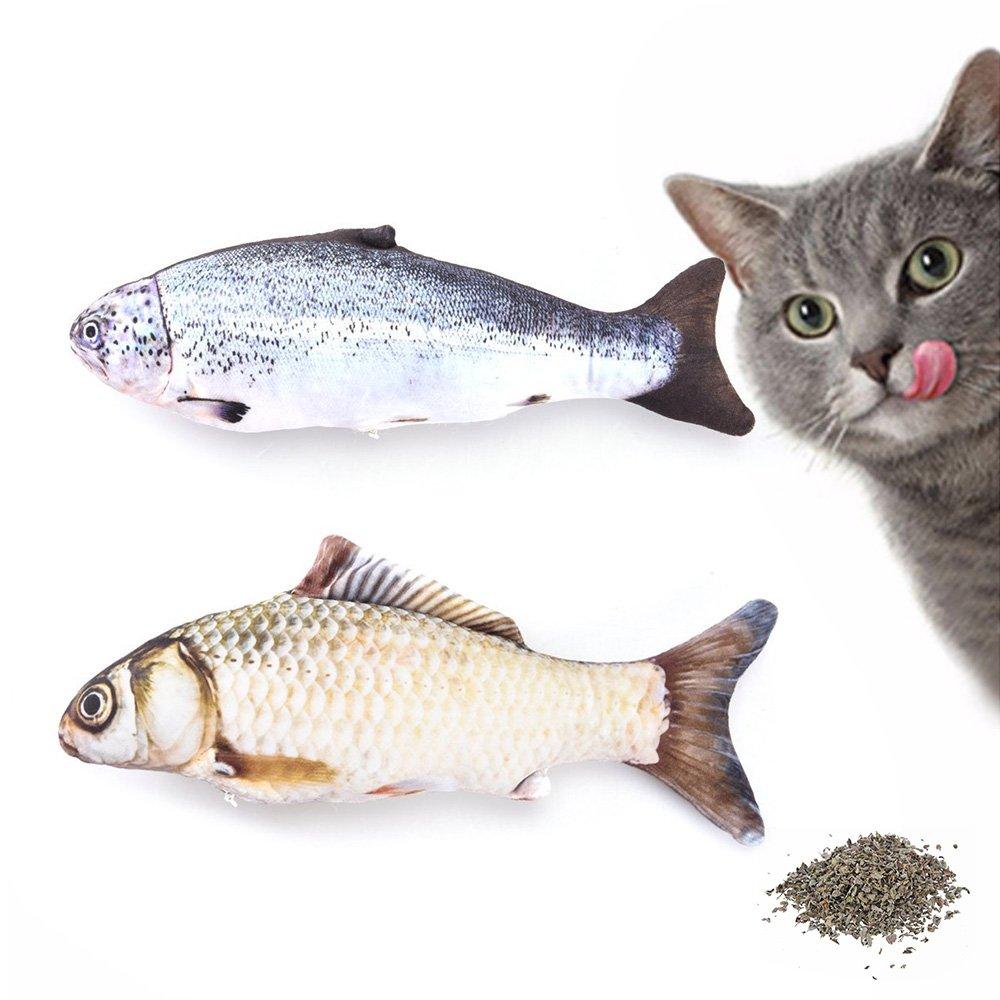 JunBo 2Pcs Juguete para Gatos con Hierba Gatera Juguete Peces para Gato, 30cm: Amazon.es: Productos para mascotas