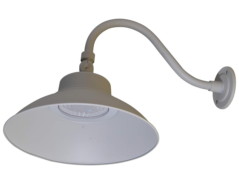 MW LED Wall Mounted Gooseneck Barn Light 42W 4000K with Photocell, Adjustable Gooseneck Arm, ETL/cETL, Energy Star Listed