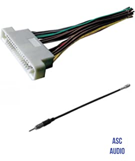 asc audio car stereo radio wire harness and antenna adapter to aftermarket  radio for some 2000